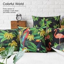 De moda de Alta Calidad de Algodón de Lino de África Tropical Planta de Hoja De Plátano Decorativo Throw Pillow Case Funda de Cojín Sofá Decoración Para El Hogar
