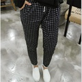 2017 New Spring Casual Loose Cotton Harem Pants Plus Size Plaid Capris Grid Black Pockets Lady Trousers Spring Loose Harem Pants