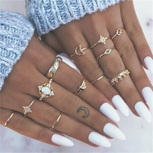TTLIFE Vintage 13Pcs/set Joint Ring Gold Color Crown Moon Star Flower Crystal Fire Opal Knuckle Rings Female Bohemian Jewelry недорого