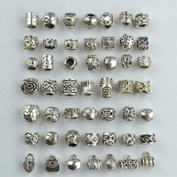 Mix wholesale 98pcs 49 Style metal vintage tibetan silver beads charm diy big hole beads fit handmade for european bracelet 1809
