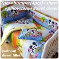 Promoção! 4 / 5 / 9 PCS conjunto de cama 100% algodão de Mickey Mouse berço berço conjuntos de cama pára choques, 120 * 60 / 120 * 70 cm