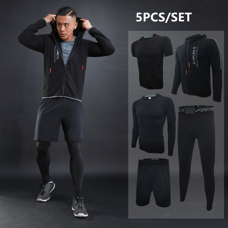 Autumn Winter Men's Running Sets 5pcs Compression Fitness Sports Suits Basketball Tights Hooded Clothes Gym Jogging Tracksuits - 2