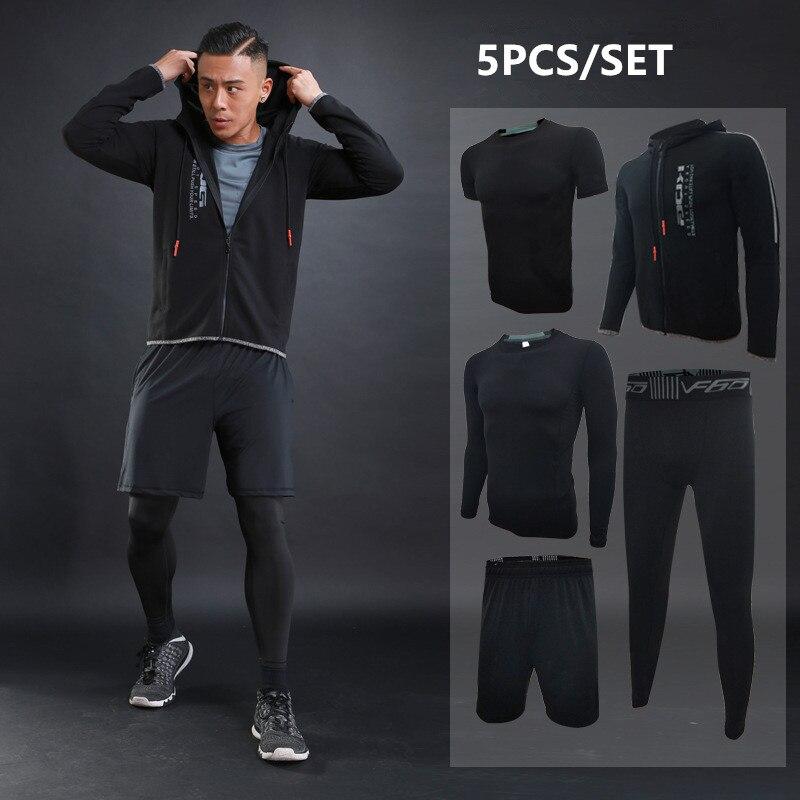 Otoño Invierno conjuntos de correr para hombres 5 uds. De compresión Fitness deportes trajes de baloncesto mallas ropa con capucha gimnasio Jogging chándales - 2