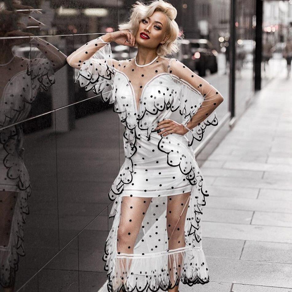Seamyla 2019 élégante robe en maille transparente Sexy noir blanc Dot femmes robe en dentelle nouvelle célébrité robes de soirée robes Vestidos