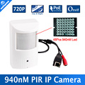 H.264 HD 720P IP Camera PoE Motion Detector PIR Style CCTV Mini IP Camera 1.0MP P2P&Onvif + Invisible IR 940nm Night vision