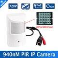 H.264 hd 720 p cámara ip poe motion detector pir estilo cctv Mini IP Cámara 1.0MP P2P y Onvif + Invisible 940nm de INFRARROJOS de visión Nocturna