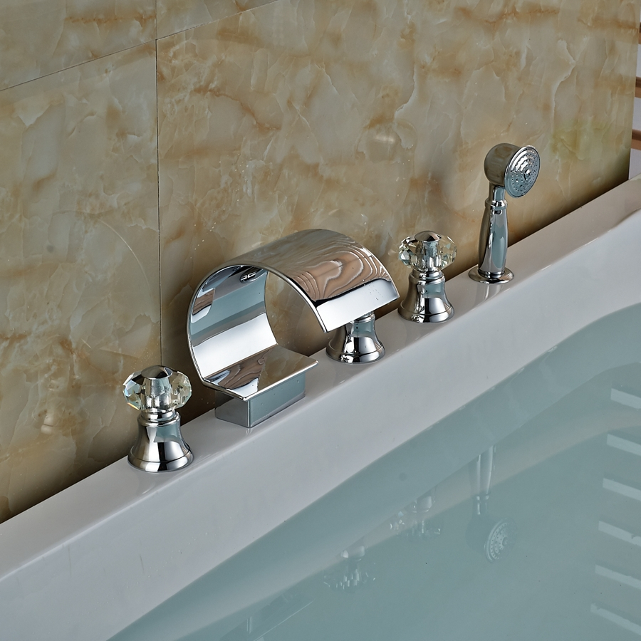 Modern Chrome Brass Waterfall Bathroom Tub Spout Crystal Handles Tub ...
