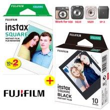 후지 필름 인스 팩스 스퀘어 블랙 필름 + 화이트 필름 인화지 instax sq10 sq6 sq20 인스턴트 필름 카메라 공유 SP 3 프린터