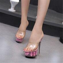 FeiYiTu Wedding Shoe Woman Platform Slippers Summer Multicolor Rose Flower Slides Waterproof 15CM Nightclub Sexy High-heel Shoes