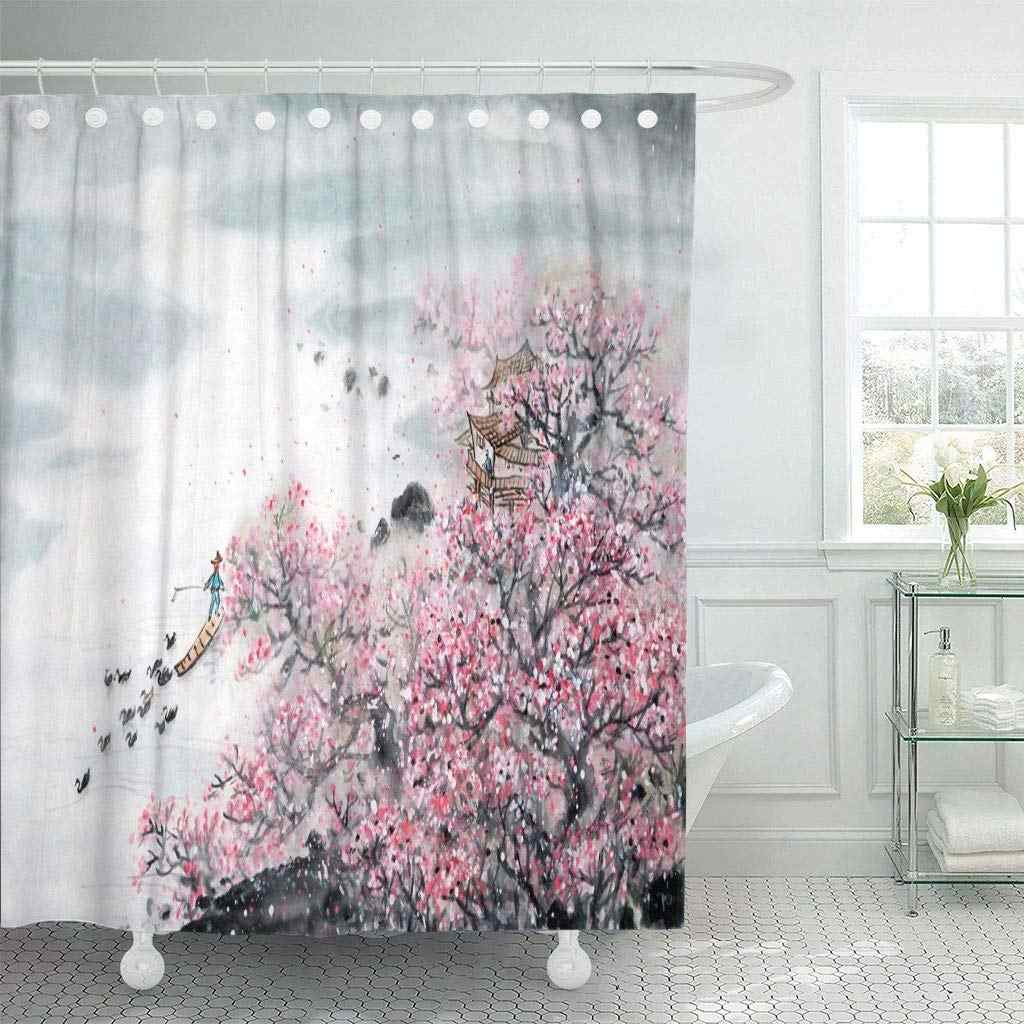 Fabric Shower Curtain Hooks Pink Japan Chinese Landscape Painting Traditional Ink Wash Flower Japanese Lotus D