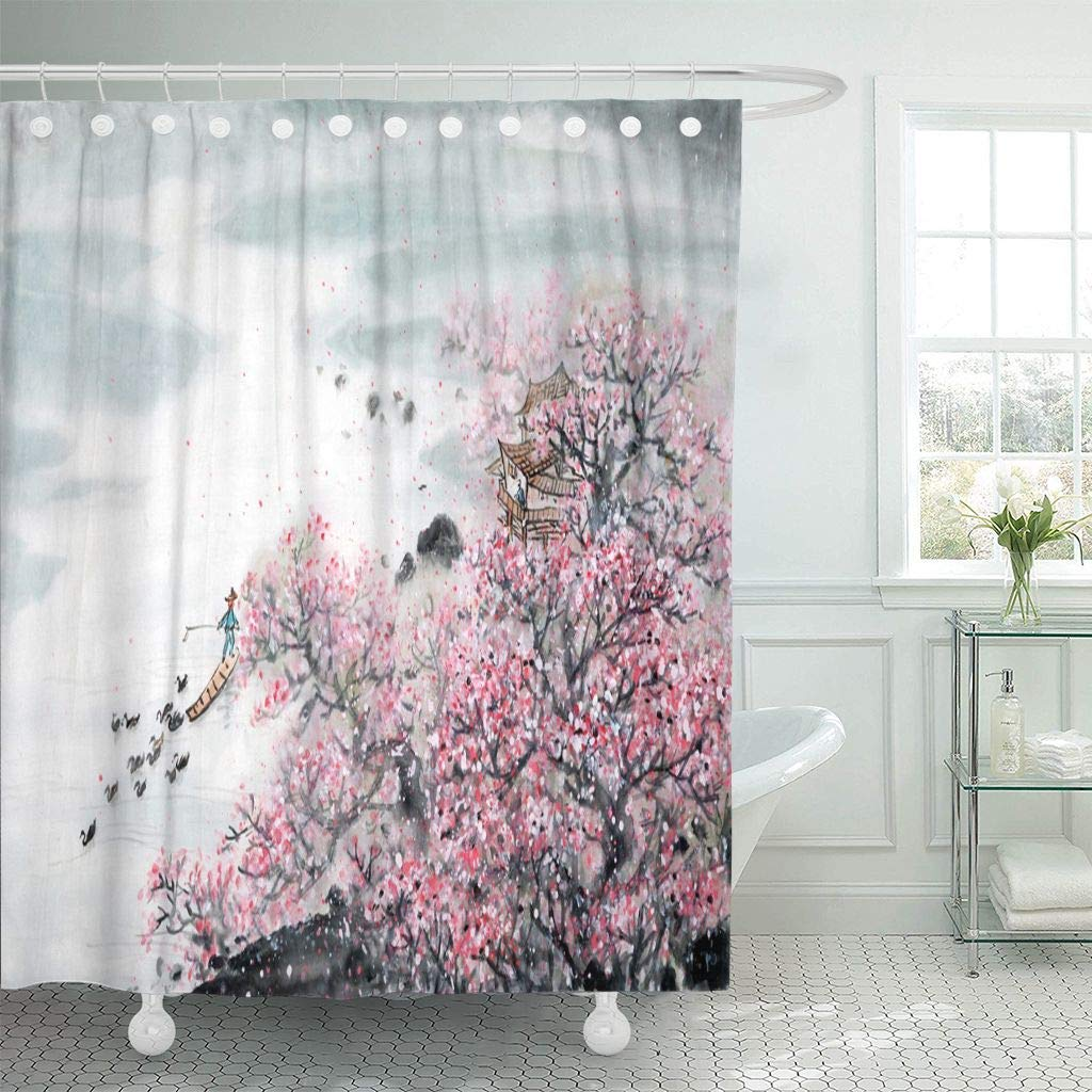 Us 17 06 36 Off Fabric Shower Curtain Hooks Pink Japan Chinese Landscape Painting Traditional Ink Wash Flower Japanese Lotus D In Shower Curtains