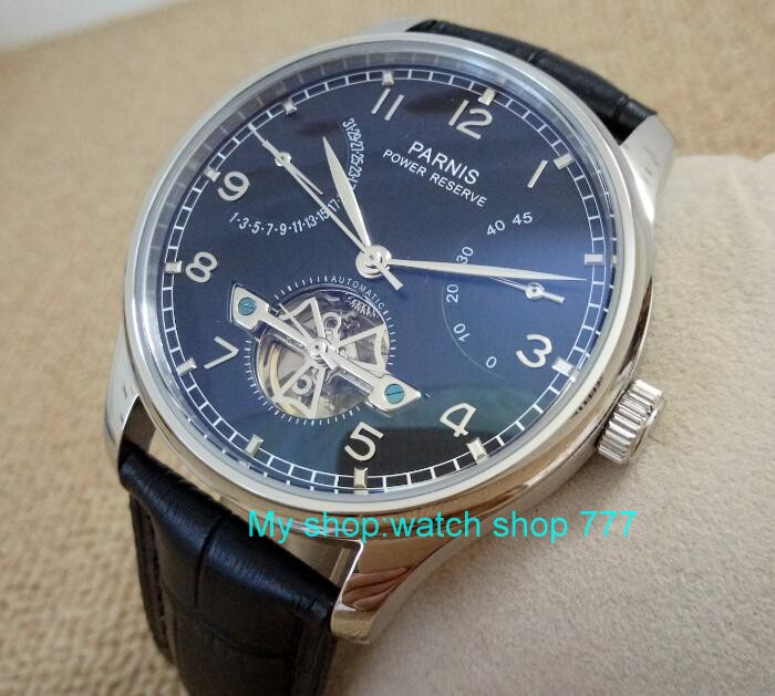 43mm Parnis Black dial Automatic Self-Wind Mechanical movement power reserve Mechanical watches Men's watch x00066 43mm parnis black dial automatic self wind mechanical movement power reserve mechanical watches men s watch x00066