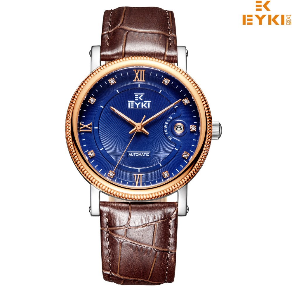 EYKI Top Brand Men Wristwatches Leather Strap Waterproof Watches Male Quartz Clocks Casual Business Watches eyki h5018 high quality leak proof bottle w filter strap gray 400ml