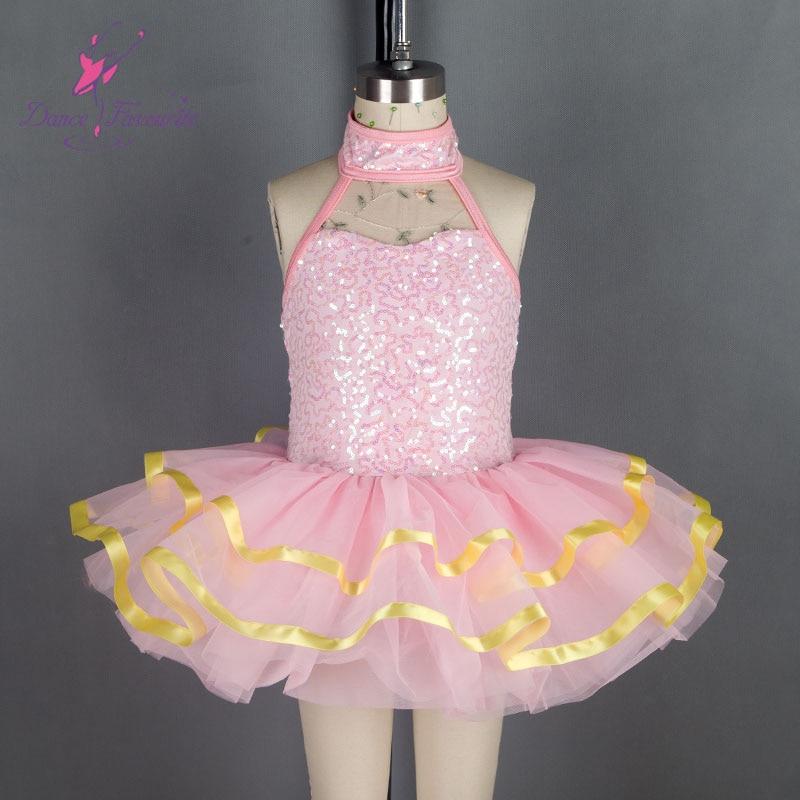 18289 Pink sequin spandex bodice ballet tutu, girl stage performance dance tutu kid dancewear ballerina tutu