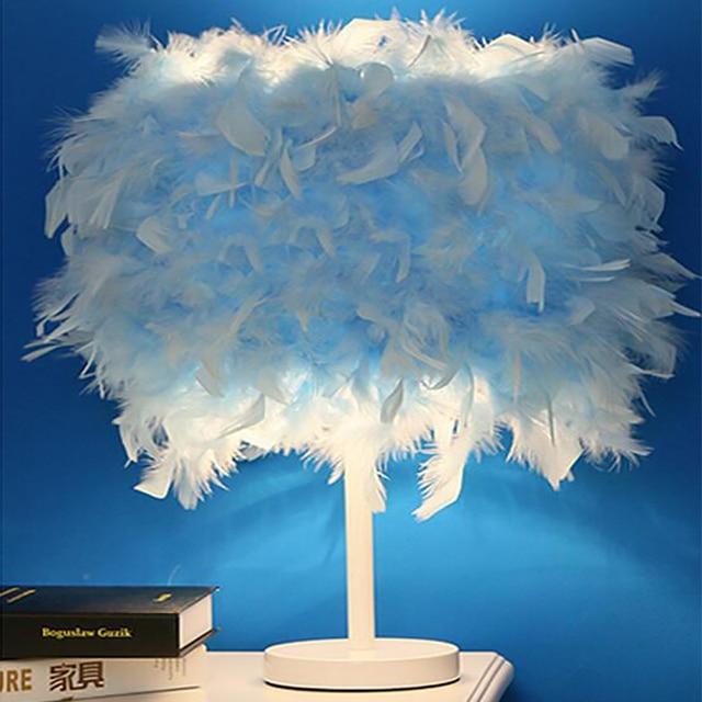 Creativo moderno pluma lámpara E27 lámpara de mesa para los niños del bebé de los niños dormitorio lámparas colgantes iluminación decoración
