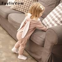 Toddler Boy Girl Cute Rabbit Ear Hooded Romper Infant Long Sleeve Jumpsuit Baby Pijama Newborn Baby
