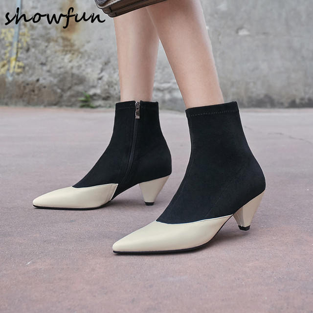019a24abd44 US $66.0 |Plus size 33 43 women's genuine leather autumn ankle boots kitten  heel elegant ladies short booties pointed toe warm plush shoes-in Ankle ...