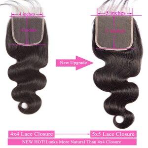 Image 5 - 5x5, кружевные застежки пряди, 100% натуральные волосы, вьющиеся волосы Queenlike, 3 4 бразильские волнистые пучки с застежкой