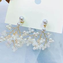 Neatear 2019 925 silver needle super fairy net red bow pearl earrings Korean temperament wild fashion