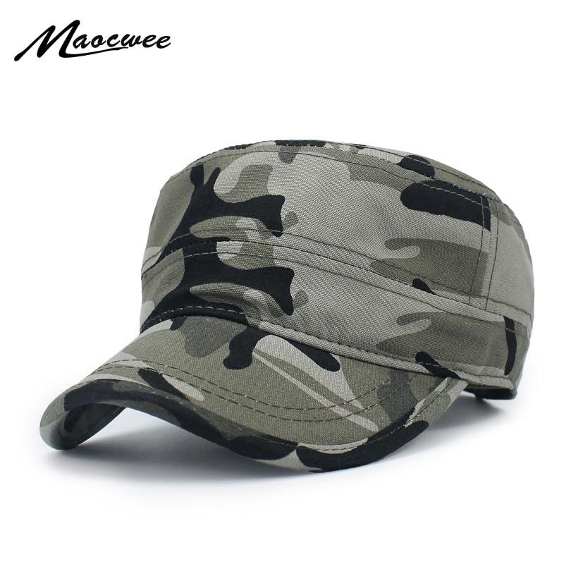 Army camouflage Flat Top Mens Donne Cappellini Hat Regolabile Cappelli Militari Casuali per Gli Uomini di Snapback della protezione del Cadetto Militare Patrol 2018 Nuovo