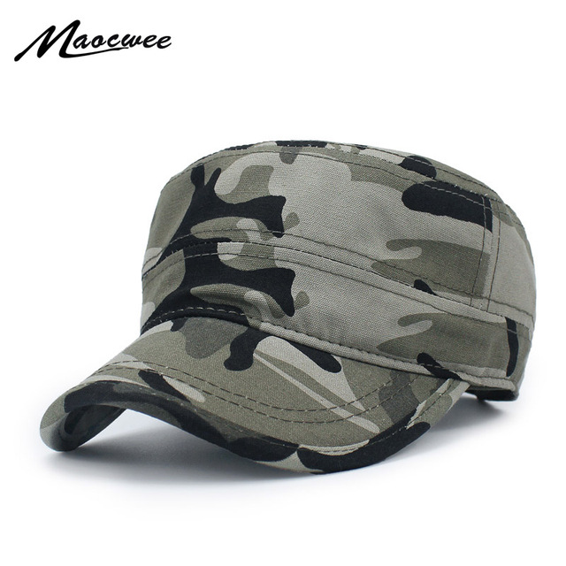 850b0206a5d Army camouflage Flat Top Mens Women Caps Hat Adjustable Casual Military Hats  for Men Snapback Cadet