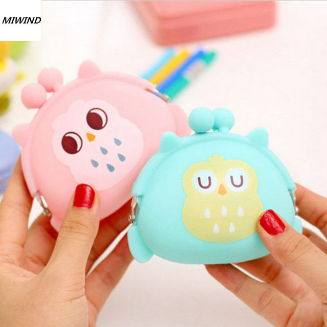 Coin Purses Women Purse for Coins Children's Wallet Kids Wallets Cute Cartoon Owl Silicone Jelly Change Bag Keys Pouch Carteira