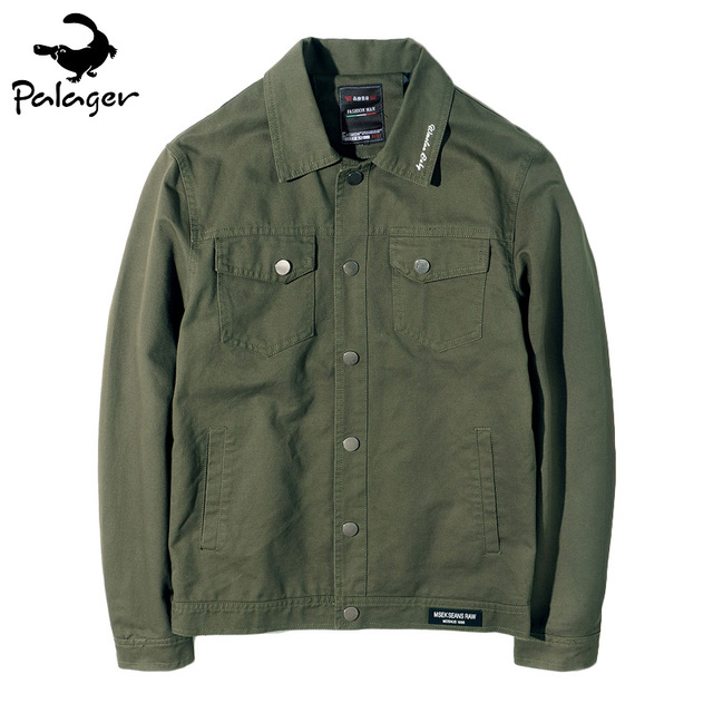 Palager Autumn Jacket Men Cotton Safari Jackets Relaxed Snap Coat
