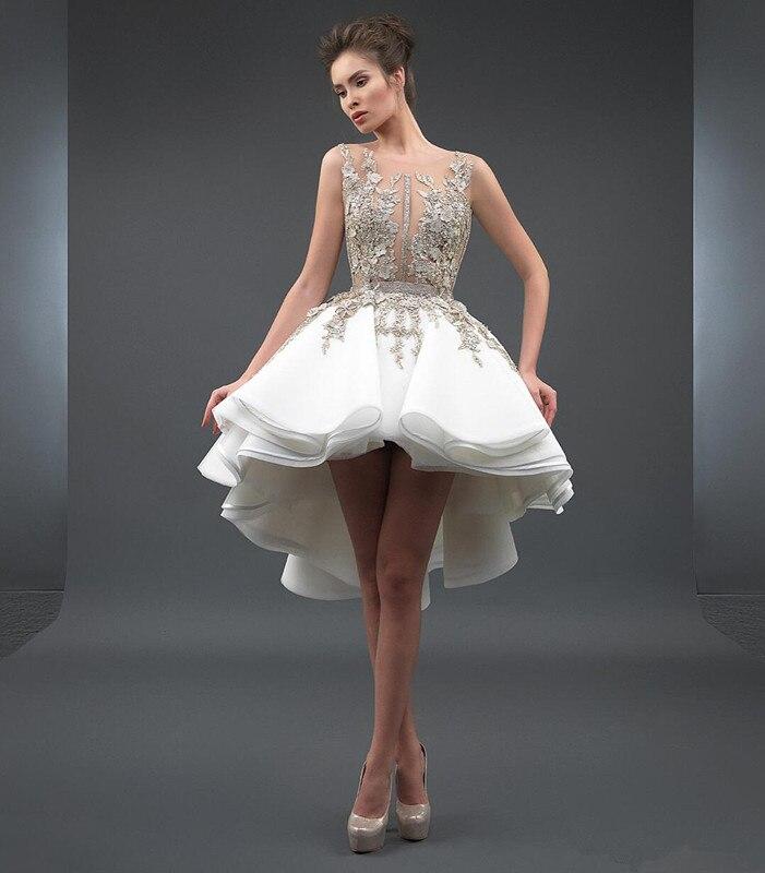 Hi Low 2019 Cocktail Dresses A-line Appliques Lace Short Mini Backless Elegant Party Homecoming Dresses