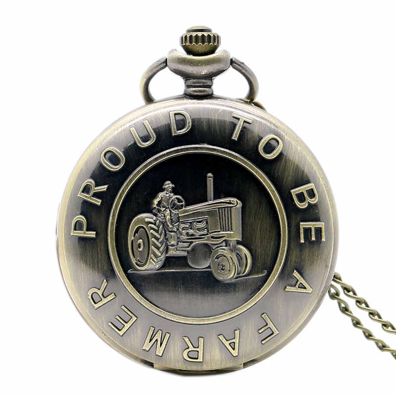 "Free Shipping Bronze Tractor Design "" Proud To Be A farmer "" Pocket Watch With Necklace Chain Best Gift"