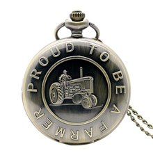 Free Shipping Bronze Tractor Design  Proud To Be A farmer Pocket Watch With Necklace Chain Best Gift