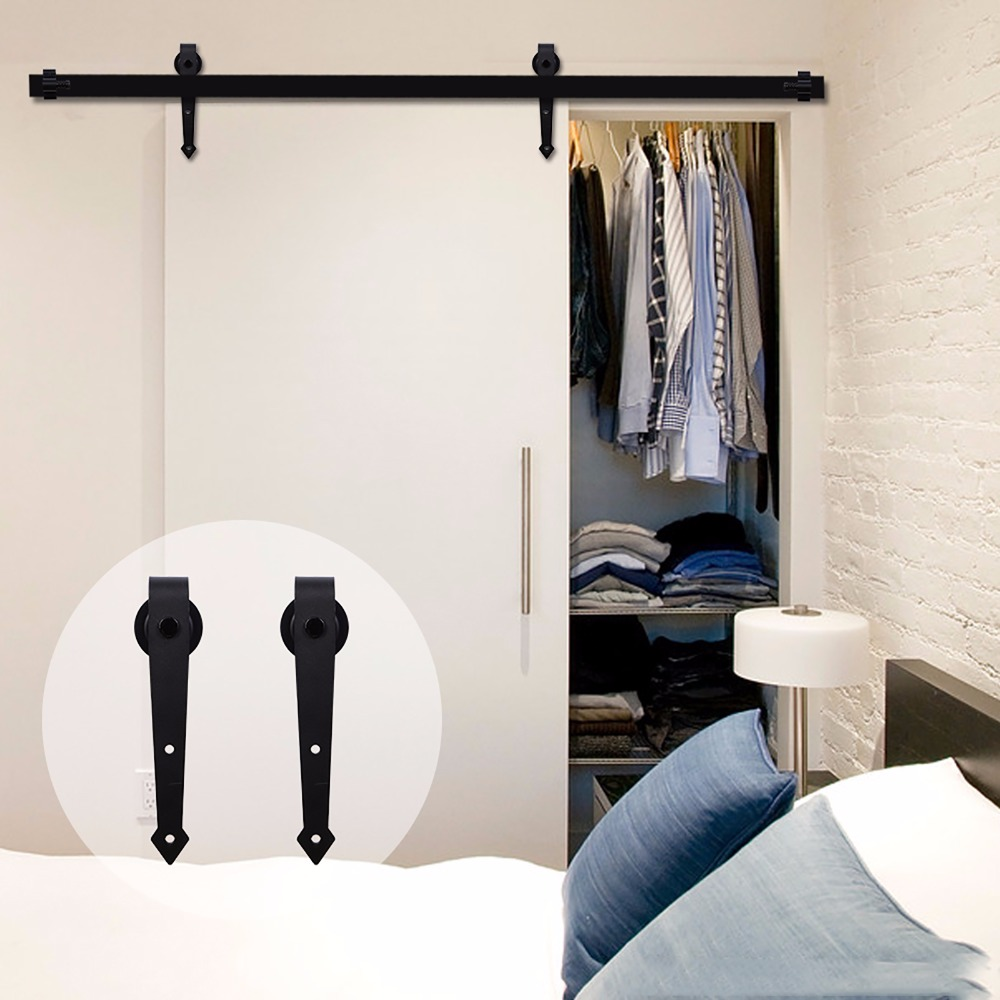 LWZH 14ft/15ft Black Classic Rail Sliding Barn Door Track Hardware Sets  Interior Door Sliding Barn Track Kit For Single Door