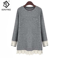 Fashion Lace Patchwork Gray Casual Blouse Big Szie 5XL 2017 New Spring Womens Blouses Shirts Long