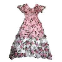 Bohemia Beach Dress Organza Flowers Sweety Lace Free Shipping