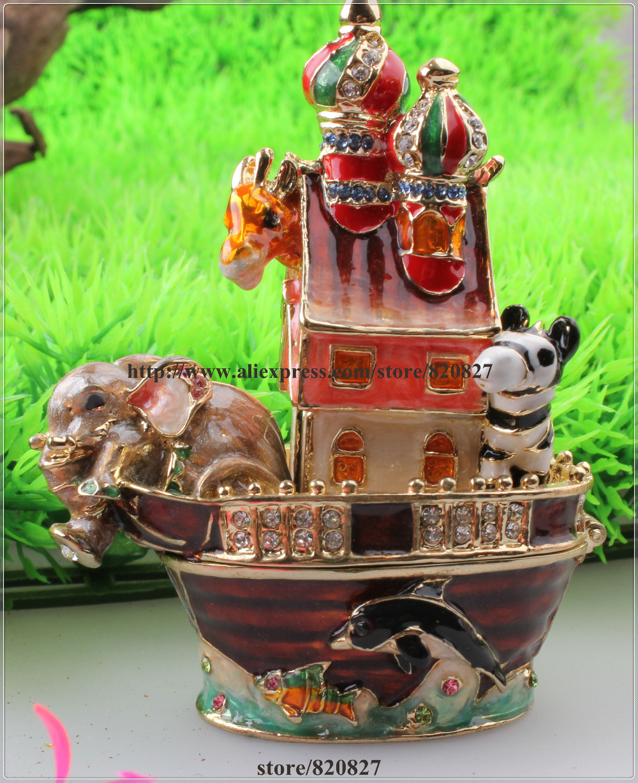 Vintage Anmial sur bateau émail bibelot boîte éléphant, zèbre, dauphin, poisson sur bateau bibelot cadeau Animal Festival boîte à bijoux