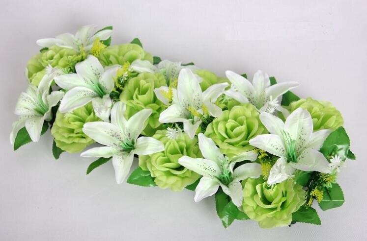2 unids 18 cabezas de seda artificial Rosa verde y blanco lirio arco ...