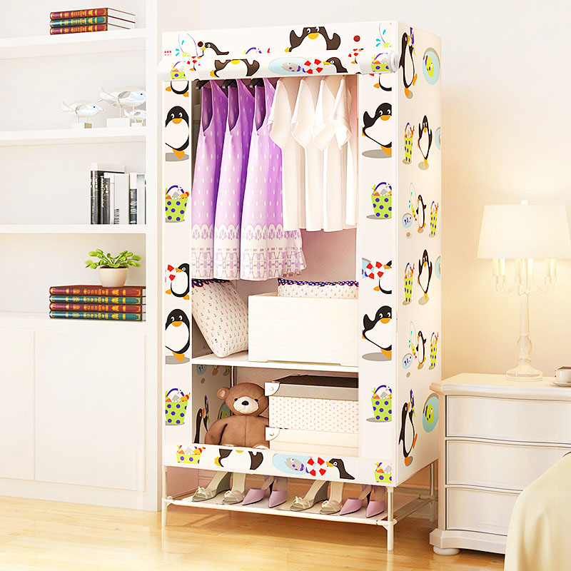 Wardrobe Non-woven Steel frame reinforcement Standing Storage Organizer Detachable Clothing Dormitory single Closet furniture simple fashion moistureproof sealing thick oxford fabric cloth wardrobe rustproof steel pipe closet 133d