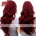 7A Ombre Sem Cola Peruca Burg Red Onda Do Corpo Preto Peruca Sintética cabelo Natural Onda Do Corpo Dianteira Do Laço Sintético Perucas de Cabelo Para As Mulheres
