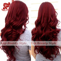 7A Ombre Wig Glueless Black Burg Red Body Wave Wig Synthetic Hair  Natural Body Wave Hair Synthetic Lace Front Wigs For Women