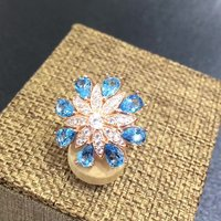 2017 Qi Xuan_Fashion Jewelry_Natural Blue Flower Rings_Finger Rings_Plated Rose Gold Flower Ring_Manufacturer Directly Sales