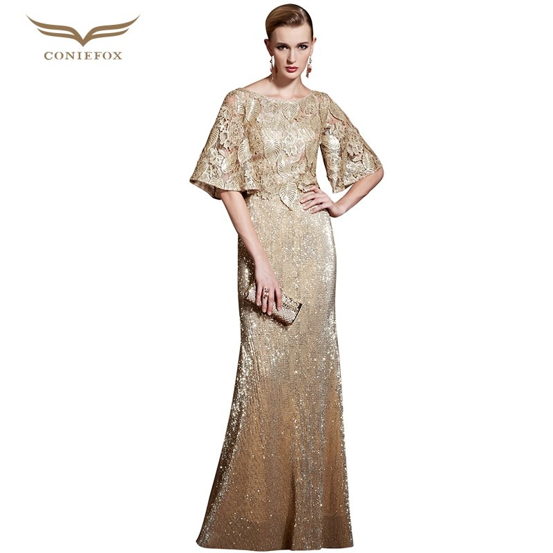 CONIEFOX Golden Evening dress Gowns Mermaid Scoop Neck Flower Appliques Bodycon Elegant Mother of Bride Dress