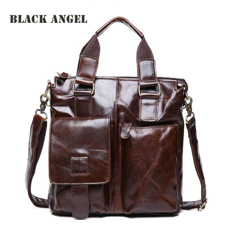 купить BLACK ANGEL Natural Genuine leather men business briefcase Bags travel bag men shoulder bags oil wax leather handbags по цене 5337.8 рублей