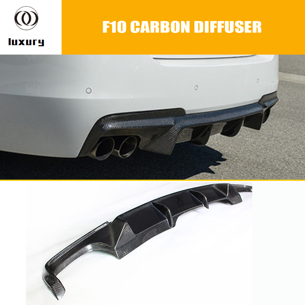 F10 V Style Carbon Fiber Rear Bumper Diffuser for BMW F10 520i 528i 530i 535i 520d 525d 530d 535d M-tech Bumper цена