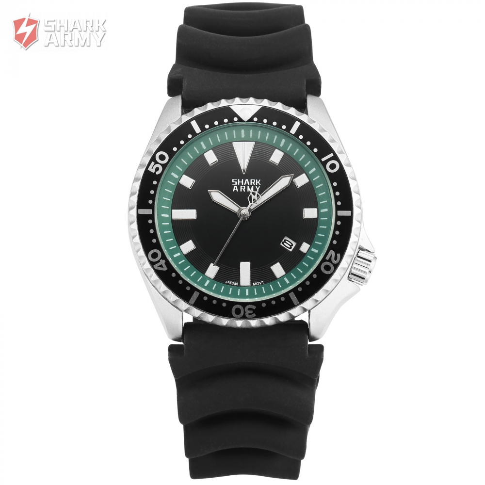 New Shark Army Watch Silver Case Green Dial Outdoor Sport White Hands Silicone Band Men Male