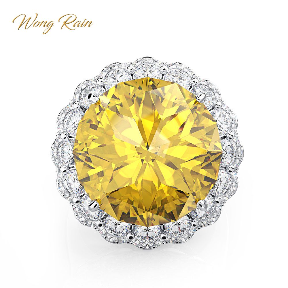 Wong Rain Vintage 100% 925 Sterling Silver Citrine Gemstone Engagement Wedding Couple Party Rings Fine Jewelry Gifts WholesaleWong Rain Vintage 100% 925 Sterling Silver Citrine Gemstone Engagement Wedding Couple Party Rings Fine Jewelry Gifts Wholesale