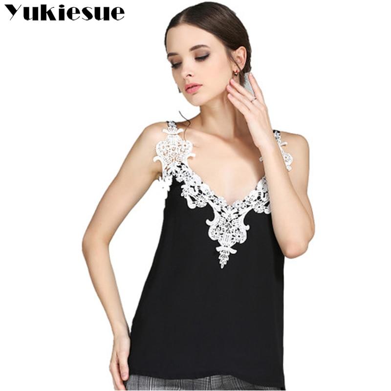 Chiffon crop top women 2017 summer fashion lace V neck tank top womens camisole tank female tops tees crop-top white black