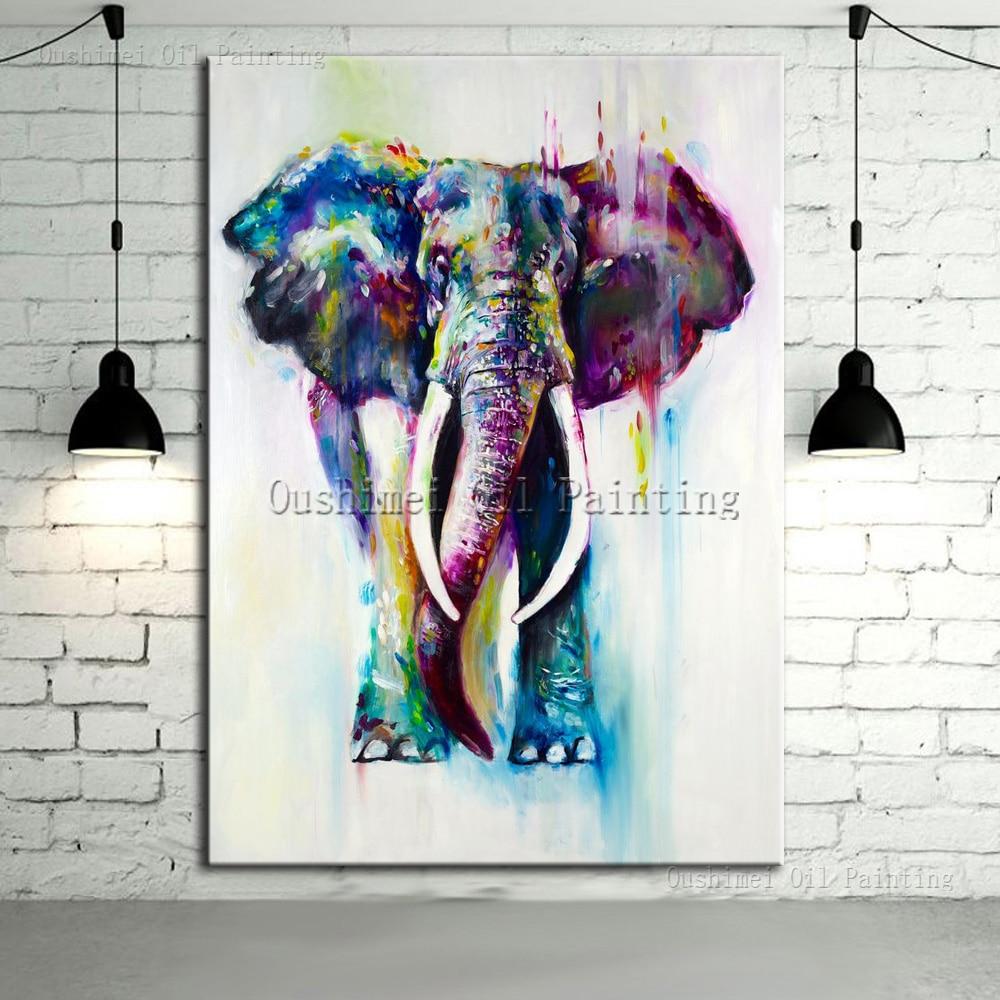 Ručně malované barvy Zvířata Olejomalba Moderní Sloní obrázek pro domácí dekor Tekoucí voda Plátno Deer Hang Hangs Obrazy Lion Art