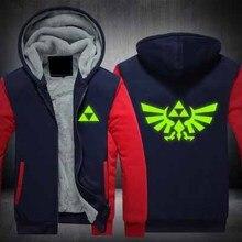 New Winter Jackets Coats The Legend of Zelda hoodie Anime Luminous Hooded Thick Zipper Men cardigan Sweatshirts
