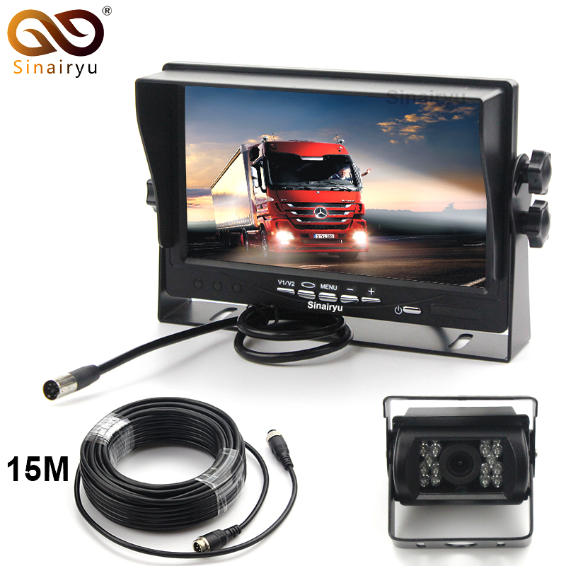 Sinairyu 15M Video Cable DC12 24V Car Truck Bus Parts 7 Inch Auto Parking Monitor With