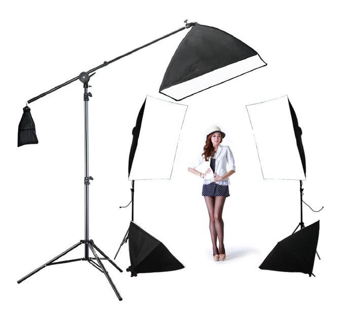 Photo Studio Arm Boost Kit 4softbox Kit 1back Light Kit 5pcs 60w Bulbs 3 Light Stand  5 Light Holder Softbox Top Lighting Box