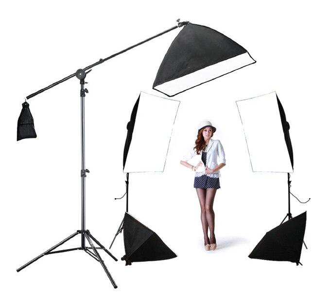 Photo studio bras booster kit 4 softbox kit 1 rétro-éclairage kit 5 pcs 60 w ampoules 3 support de lumière 5 porte-lumière boîte à lumière Supérieure Boîte D'éclairage